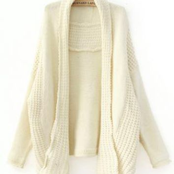 Beige Bat Sleeve Knitting Cardigan S002399