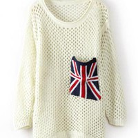 Long Sleeve Union Jack Pocket Open Stitch Jumper S001305