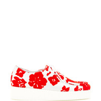 Joshua Sanders Printed Lace-Up Leather and Suede Sneakers Red