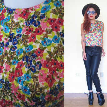 Vintage 60's multicolor sleeveless floral flower gold threads boxy blouse