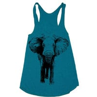 Womens ELEPHANT Tri-Blend Racerback Tank Top - american apparel - XS, S, M, and L (9 Color Options)