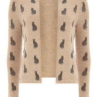 Camel cat print fluffy cardigan