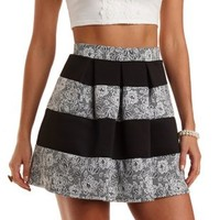 Striped Floral Jacquard Skater Skirt by Charlotte Russe - Black Combo