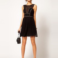 Warehouse Studded Bodice Dress at asos.com