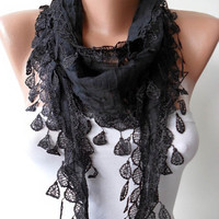 Black Scarf with Black Trim Edge - Lightweight and Cotton Fabric