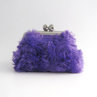 Frame Coin Purse-- mini jewelry case with ring pillow- purple swirl fur