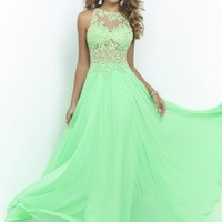 Blush Prom 9936 - Green Floral Lace Chiffon Prom Dresses Online