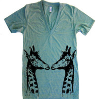 Unisex GIRAFFES Deep V Neck T Shirt - american apparel - XS S M L XL (15 Color Options)