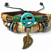 bangle leather bracelet men bracelet blue Anti-war peace peaceful bracelet made of  Leather Ropes Wooden Beads and  Anti-war peace peaceful