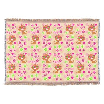 Hipster Cool Cat Lovers Pattern Throw Blanket