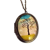 Locket Pendant in Antiqued Brass Setting Original Art Design