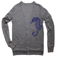 Unisex SEAHORSE Tri-Blend Cardigan - American Apparel - XS S M L (4 Color Options)