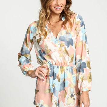 PEACH WATERCOLOR FLORAL WRAPPED ROMPER