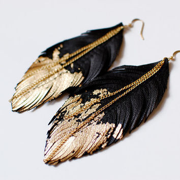 Leather Feather Earrings - Black Leather Dipped in Gold - Black Raven Feather Jewellery