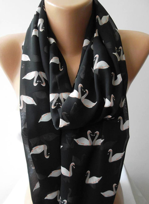 Swan Lake -CHIFFON - Infinity Scarf Loop Scarf Circle Scarf - It made with good quality chiffon fabric - Super Loop