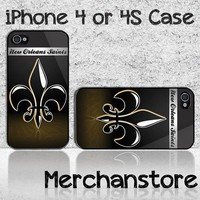 New Orleans Saints NFL Team Logo Custom iPhone 4 or 4S Case Cover