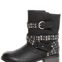 Dirty Laundry Showstopper Black Studded Motorcycle Boots