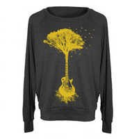 Womens Guitar Tree Tri-Blend Raglan Pullover - American Apparel - S M and L (8 Color Options)