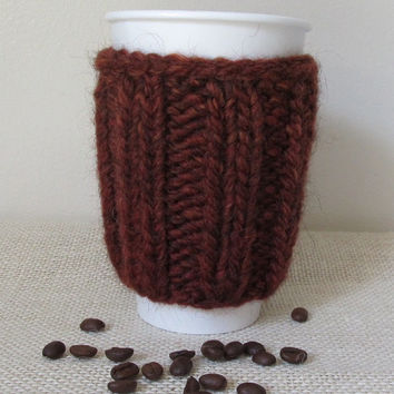 Alpaca Wool Coffee Cozy Sweater, Takeout Cup, Brown Heather, Handmade