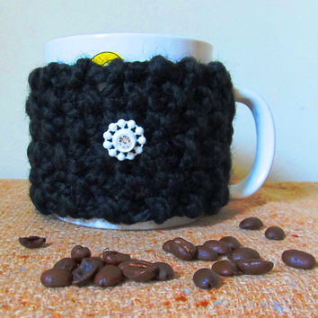 Coffee Mug Cozy, Black Wool Blend, Vintage Crystal Snowflake Button, Handmade