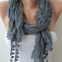 Fall Trend - Grey Scarf with Pompom Trim Edge