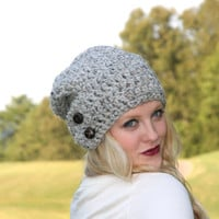 Slouchy  Beanie Hat With Two Buttons- Marble Gray Tweed