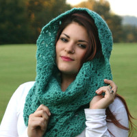 Ultramarine Green - Textured Chunky Cowl Scarf Snood Scarf
