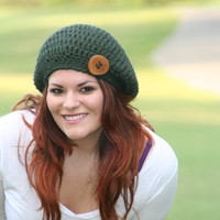 Moss Green Baby Alpaca Slouchy Beret Hat With Big  Wood Button 100% Bulky Baby Alpaca