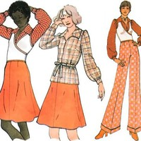 Vintage 70s Sewing Pattern Surplice Wrap Sweater Puff Sleeve Top Blouse