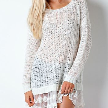 all eyes on me lace trim sweater tunic - white /