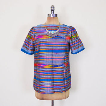 Vintage 80s Blue Southwestern Blouse Shirt Top Southwest Blouse Tribal Blouse Tribal Print Blouse Stripe Blouse Boho Blouse Women S Small