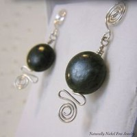 Canadian Jade Spiral Post Earrings, Nickel Free Sterling Silver