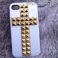 Studded iPhone 4 Case - studded iphone 5 case - studded iphone 4s case white iphone 5 case studded cross punk iphone case
