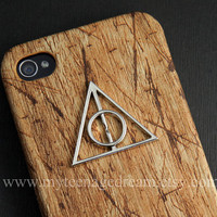 Deathly Hallows, Iphone 4 Case, iphone 4s case, harry potter Iphone Case, brown wood Hard Case