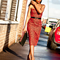 Pin-Up Wiggle Red Leopard Print Pencil Dress