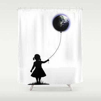 The Girl That Holds The World - White background Shower Curtain by Nicklas Gustafsson