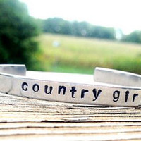 ONE hand stamped custom bracelet- silver