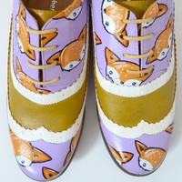 Mustard and Lilac Fox Brogues - Sz UK 5, US 7.5, Eur 38
