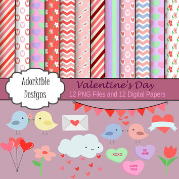 Instant Download Cute Valentine Clipart and Digital Paper