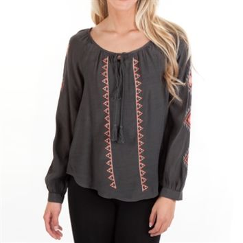 Blu Pepper Juniors Woven Peasant Top with Embroidery Detail at Von Maur