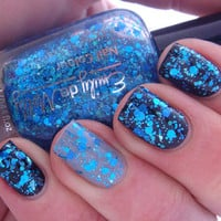 Glitter nail polish - &quot;Shattered Sapphire&quot; blue glitter nail polish