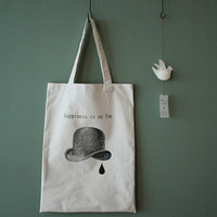 Screen Printed Large Canvas Shoulder Bag :  Happiness is no Fun - Off White