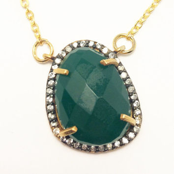 Green Chalcedony Necklace, Pave Rhinestone, gold chain, double bail charm, double bail pendant, charm necklace