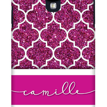 Sparkly Pink Glitter Custom iPhone or Samsung Galaxy Case, Pink Phone Case, Quatrefoil Phone Case, Personalized Phone Case, Patterned iPhone
