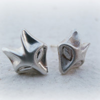 Fox silver earrings-sterling silver fox studs