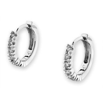 18K White Gold Channel Set Diamond Accents Huggie Earrings (0.12 cttw, G-H color, SI1 Clarity)