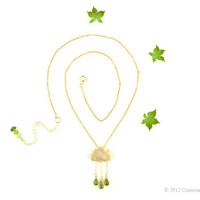 "Gold olive green rain cloud necklace ""Fresh Rain"" 14kt gold filled"