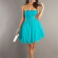 Sexy Strapless Scoop Neckline Beaded Layered Knee Length Tulle Prom Dress PD2175 Dresses UK