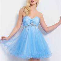 Short A-line Strapless Sweetheart Empire with Beadings Tulle Prom Dress PD2177 Dresses UK