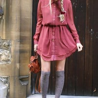 Double Chiffon Full Sleeve Dress - Sheinside.com